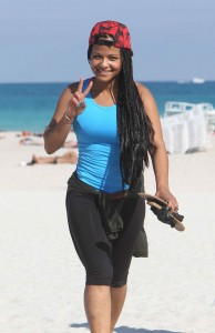 Christina Milian take a walk on the beach in Miami Beach.. Non Exclusive