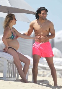 Footballer Radamel Falcao and pregnant wife Lorelei on vacation in Miami Beach