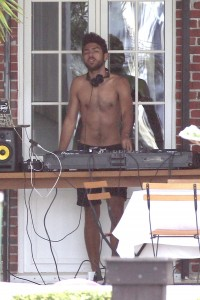Boris Becker's son Noah Becker DJing shirtless at his home in Miami Beach.