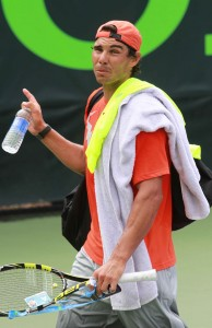 Rafael Nadal during practice at Sony Tennis Tournament in Key Biscayne, Miami.
