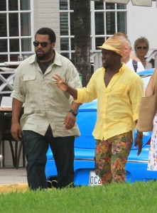 Kevin Hart and Ice Cube filming Ride Along 2 in Miami Beach