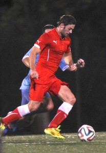 Latin actor William Levy showing his skills during a soccer match in Miami.