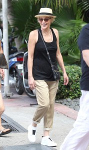 Sharon Stone walking the streets of Miami Beach with friends.