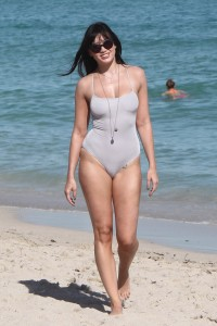 British fashion model Daisy Lowe sporting a one piece bikini in Miami Beach