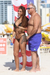 Italian television personality Elettra Lamborghini and father Tonino in Miami Beach