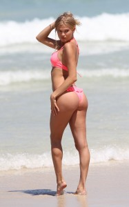 Victoria's Secret Angel and modelJosephine Skriver during a photo shoot in Miami Beach