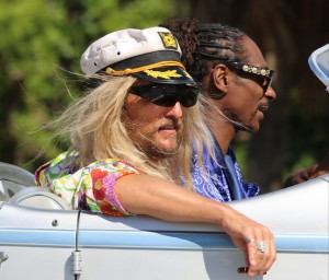 Matthew McConaughey and Snoop Dogg filming Beach Bum movie riding an antique Rolls Royce in Key Biscayne, Miami.