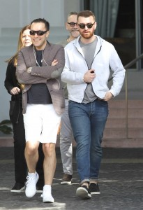 British singer and songwriter Sam Smith and friends leaving the hotel for shopping in Miami.