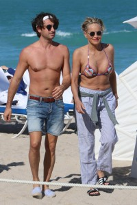 Sharon Stone and boyfriend relaxing at the beach in Miami