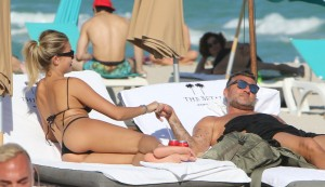 Former Italian footballer Christian Vieri and girlfriend Costy Caracciolo suntanning in Miami Beach